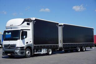 camion rideaux coulissants MERCEDES-BENZ ANTOS / 1840  / E 6 / ZESTAW  120 M3 / 39 PALET / ŁAD. 21 460 KG + remorque rideaux coulissants